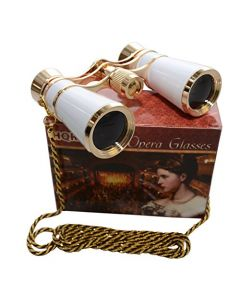 HQRP Ultra Compact Light 7x25 Opera Glasses w/ Crystal Clear Optic (CCO) and Large Zoom in Elegant White Pearl Color with Golden Trim and Necklace