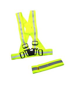 HQRP KIT: Adjustable Reflective Vest & Reflective Ankle Band Neon Yellow for Running, Jogging, Cycling, Motorcycle Riding