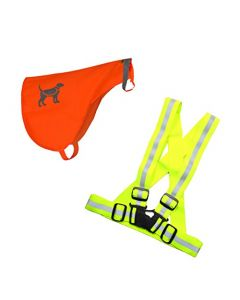 HQRP High Visibility Lightweight Reflective Kit - Safety Vest + Pet Vest - for Night Outdoor Activities / Dog Walking, Fluorescent Yellow + Orange
