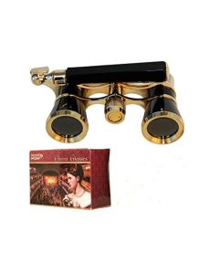 HQRP Opera Glasses Black with Gold Trim w/ Built-In Extendable Handle in Gift Box