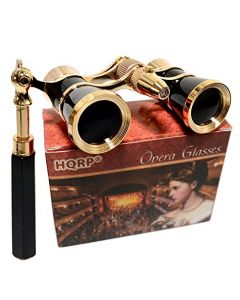 HQRP Theater Binoculars w/ Crystal Clear Optic (CCO) Elegant Black Style with Gold Trim w/ Built-In Extendable Handle and Red Reading LED Light in HQRP Gift Box