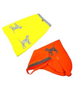 HQRP 2-pack Yellow & Orange Safety Dog Vests with High Visibility Reflective Strip & Dog Pattern, Medium Size