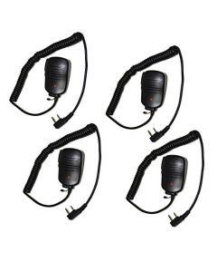 HQRP 4-Pack 2 Pin PTT Mini Speaker Mic for Kenwood TK-3200, TK-3200L, TK-3200LP + HQRP UV Meter