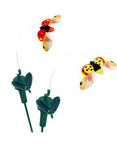 HQRP Set of 2 Solar Powered Flying Ladybugs / Ladybirds Red + Yellow for Garden Plants Flowers / Patio Landscape Outside Decor + HQRP UV Meter