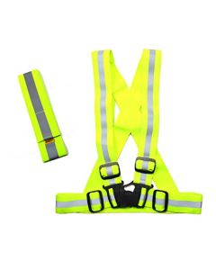 HQRP Neon Yellow High Visibility Reflective Set - Safety Vest & Ankle / Arm Band - for Night Workers Roadside Emergencies Search & Rescue