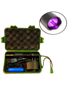 HQRP Complete KIT: Powerful 3W UV Flashlight 365nm with Chargers and Battery for Rocks / Stones Illumination / Glow / Fluorescence plus HQRP UV Meter