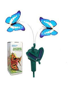 HQRP Twin Solar Powered Flying Fluttering Butterflies Morpho for Garden Plants Flowers Decoration plus HQRP UV Chain / UV Health Meter