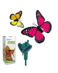 HQRP Pair of Solar Powered Flying Fluttering Butterflies Yellow and Pink Monarch for Garden Plants Flowers plus HQRP UV Chain / UV Health Meter