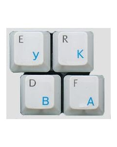 HQRP NEW Cyrillic alphabet Russian / Ukrainian Laminated Keyboard Stickers On Transparent Background with Blue Lettering for All PC Computers