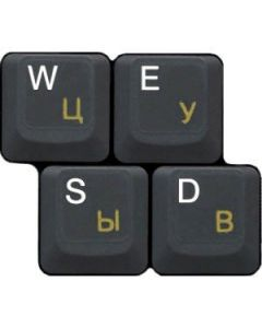 HQRP Russian Laminated Transparent Keyboard Stickers for All PC & Laptops with Yellow Lettering