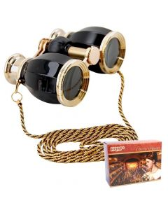 HQRP Theater Glasses Binoculars Antique Style Black Pearl with Gold Trim w/Necklace Chain with Crystal Clear Optics (CCO)